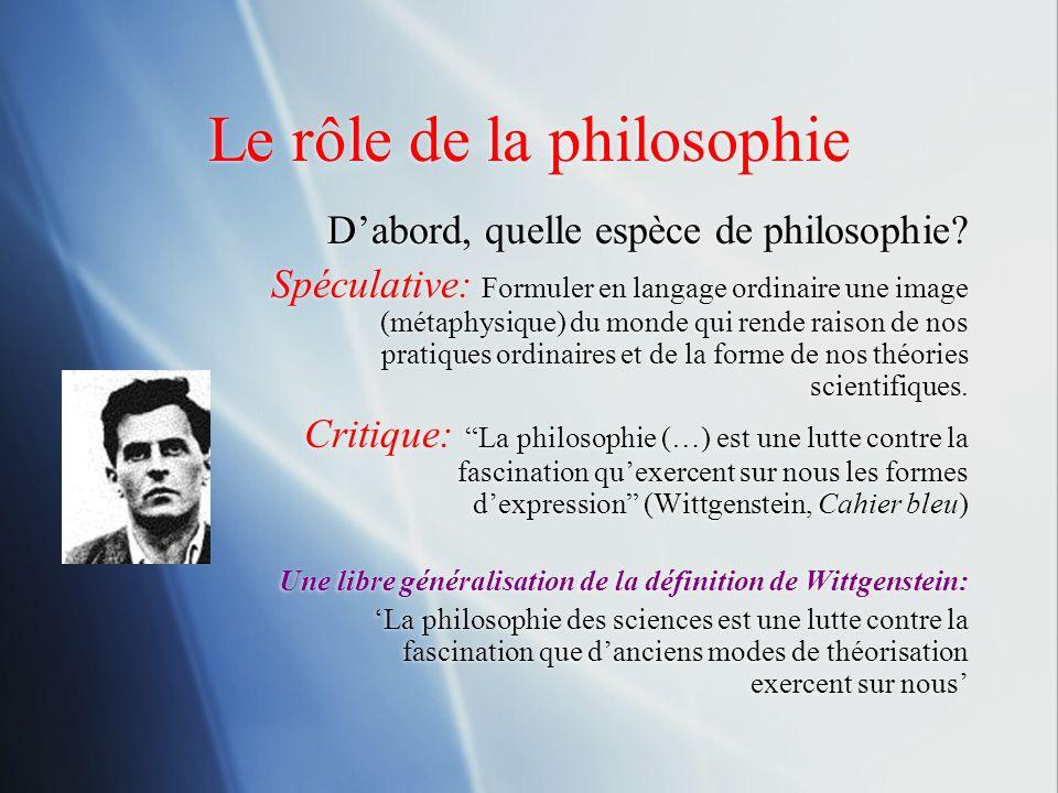 Le rôle de la philosophie Dabord, quelle espèce de philosophie? Spéculative: Formuler en langage ordinaire une image (métaphysique) du monde qui rende