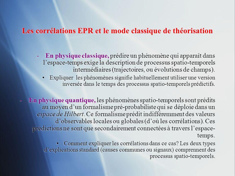 Les corrélations EPR et le mode classique de théorisation -En physique classique, prédire un phénomène qui apparaît dans lespace-temps exige la descri