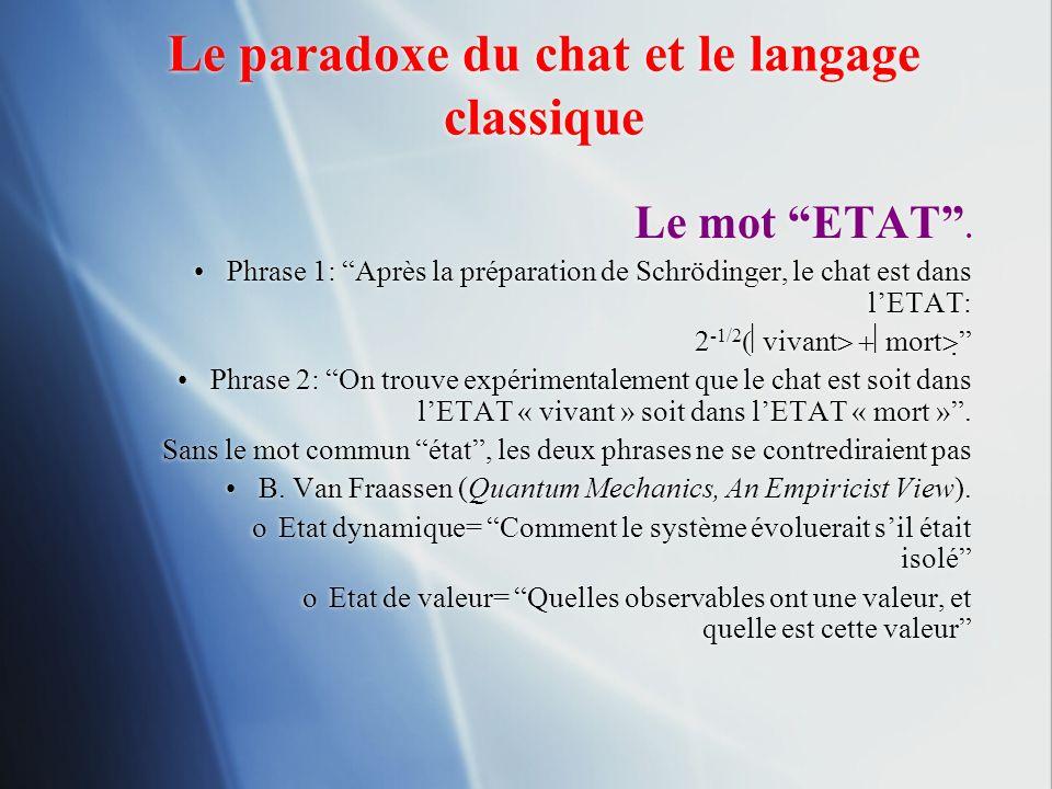Le paradoxe du chat et le langage classique Le mot ETAT. Phrase 1: Après la préparation de Schrödinger, le chat est dans lETAT: 2 -1/2 vivant mort Phr