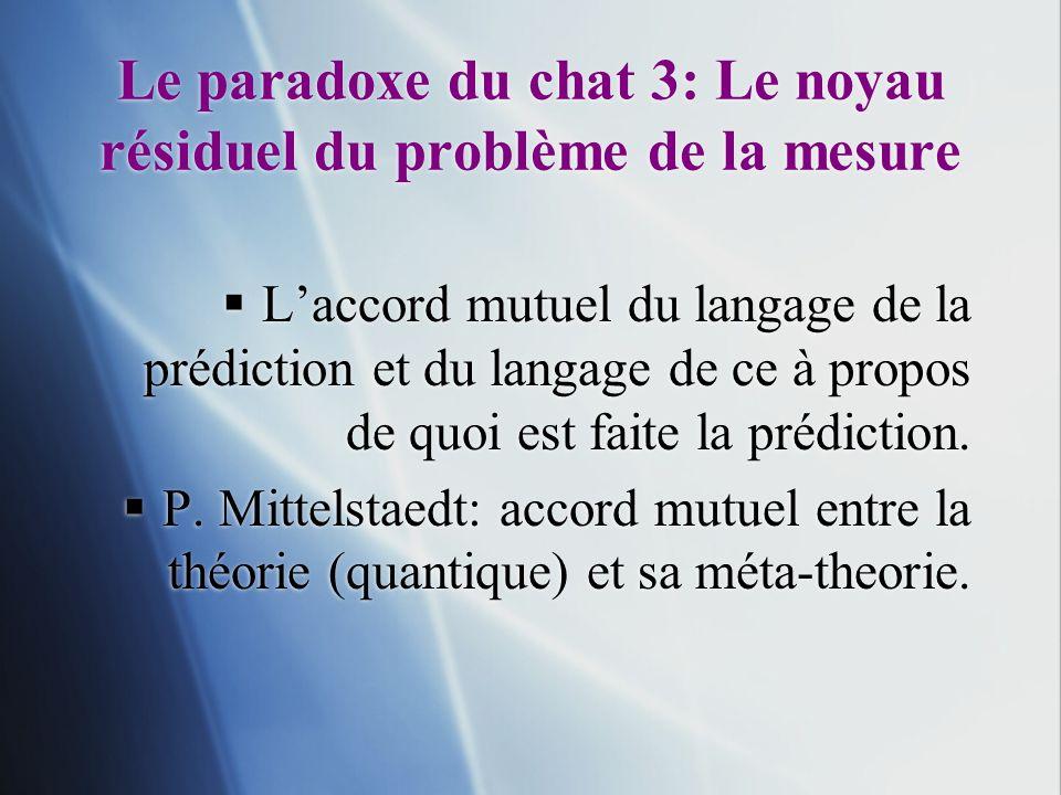 Le paradoxe du chat 3: Le noyau résiduel du problème de la mesure Laccord mutuel du langage de la prédiction et du langage de ce à propos de quoi est