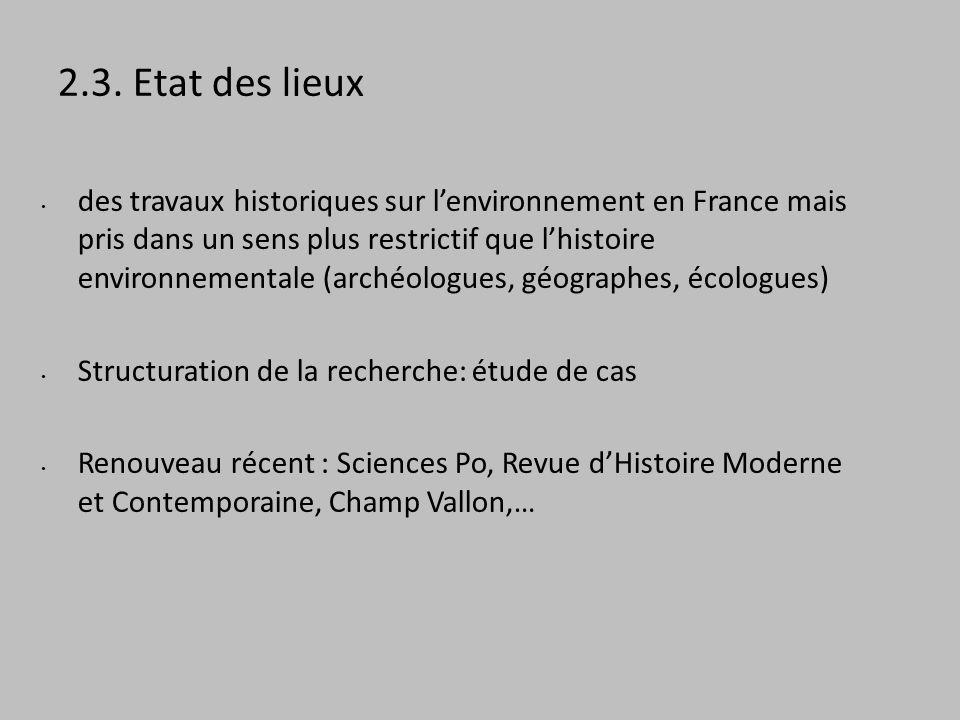 2.3. Etat des lieux des travaux historiques sur lenvironnement en France mais pris dans un sens plus restrictif que lhistoire environnementale (archéo