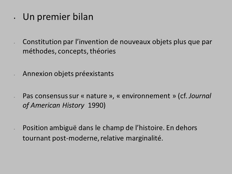 Un premier bilan - Constitution par linvention de nouveaux objets plus que par méthodes, concepts, théories - Annexion objets préexistants - Pas consensus sur « nature », « environnement » (cf.