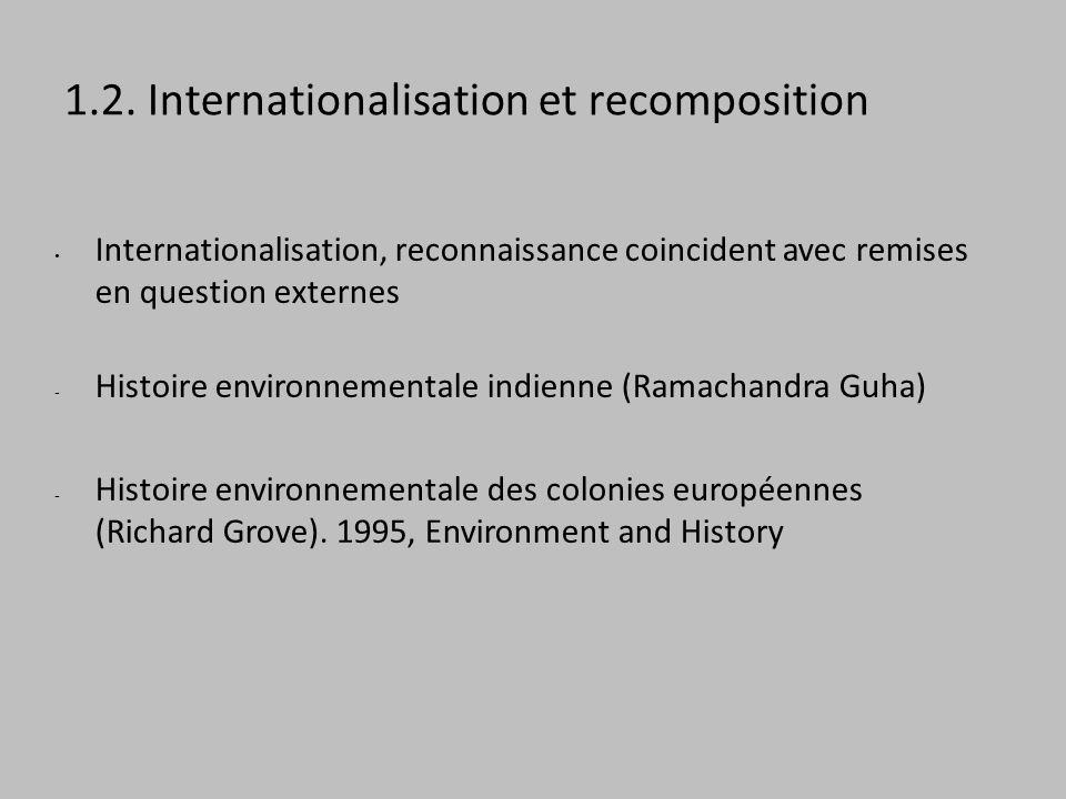1.2. Internationalisation et recomposition Internationalisation, reconnaissance coincident avec remises en question externes - Histoire environnementa