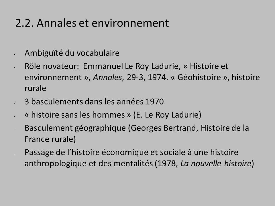 2.2. Annales et environnement Ambiguïté du vocabulaire Rôle novateur: Emmanuel Le Roy Ladurie, « Histoire et environnement », Annales, 29-3, 1974. « G