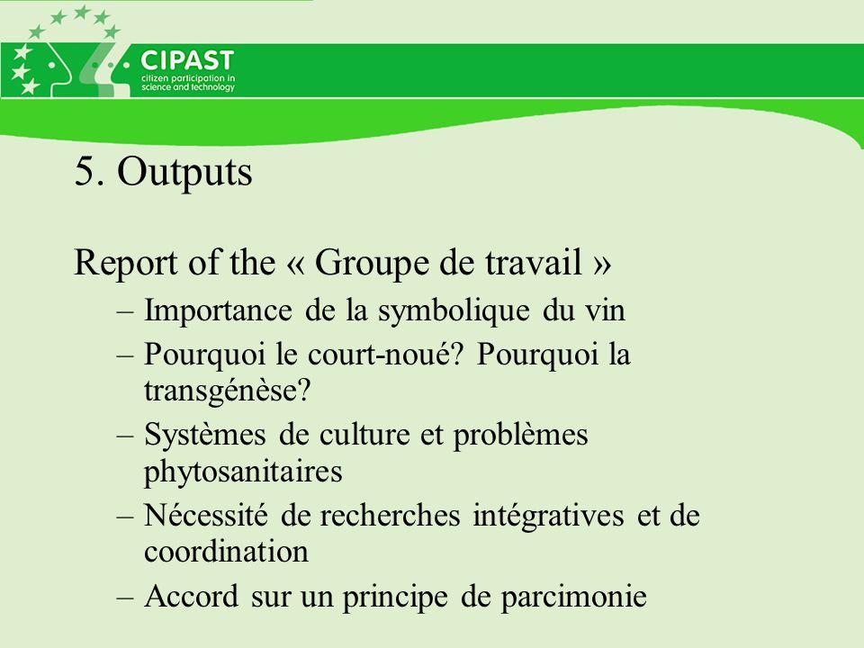 5. Outputs Report of the « Groupe de travail » –Importance de la symbolique du vin –Pourquoi le court-noué? Pourquoi la transgénèse? –Systèmes de cult