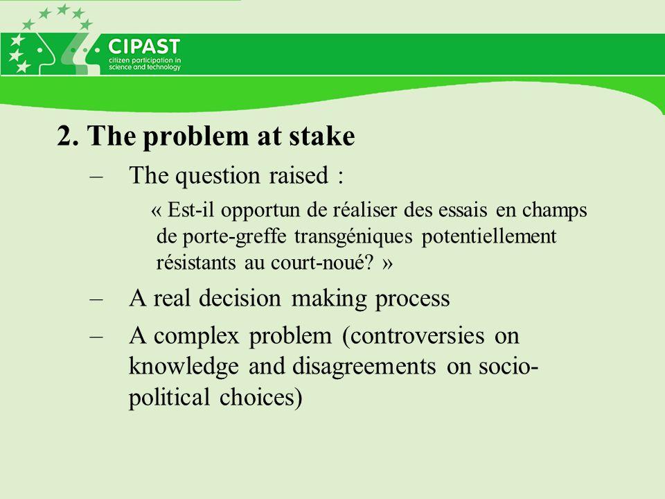 2. The problem at stake –The question raised : « Est-il opportun de réaliser des essais en champs de porte-greffe transgéniques potentiellement résist