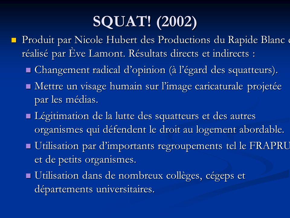 SQUAT. (2002) Produit par Nicole Hubert des Productions du Rapide Blanc et réalisé par Ève Lamont.