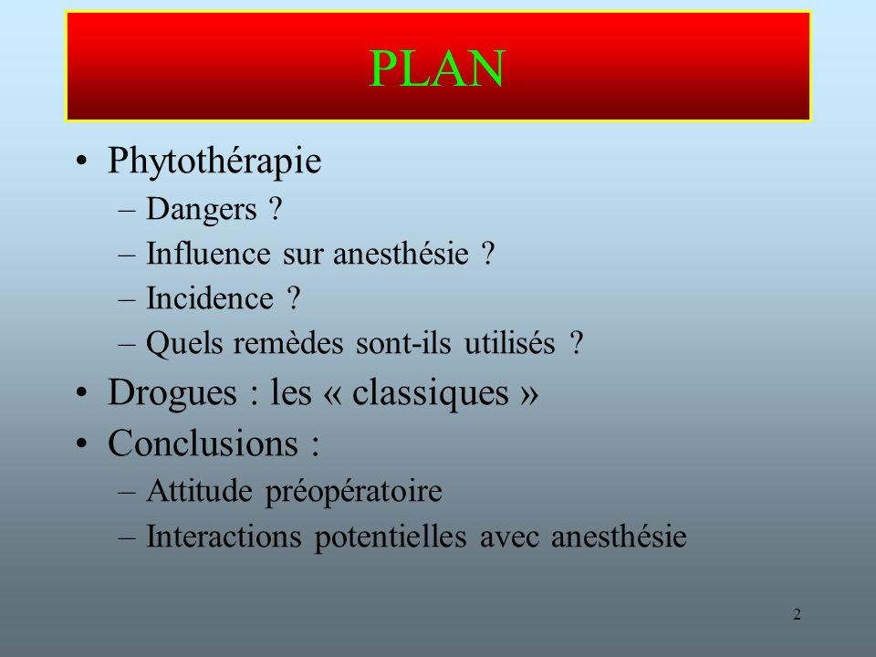 2 PLAN Phytothérapie –Dangers .–Influence sur anesthésie .