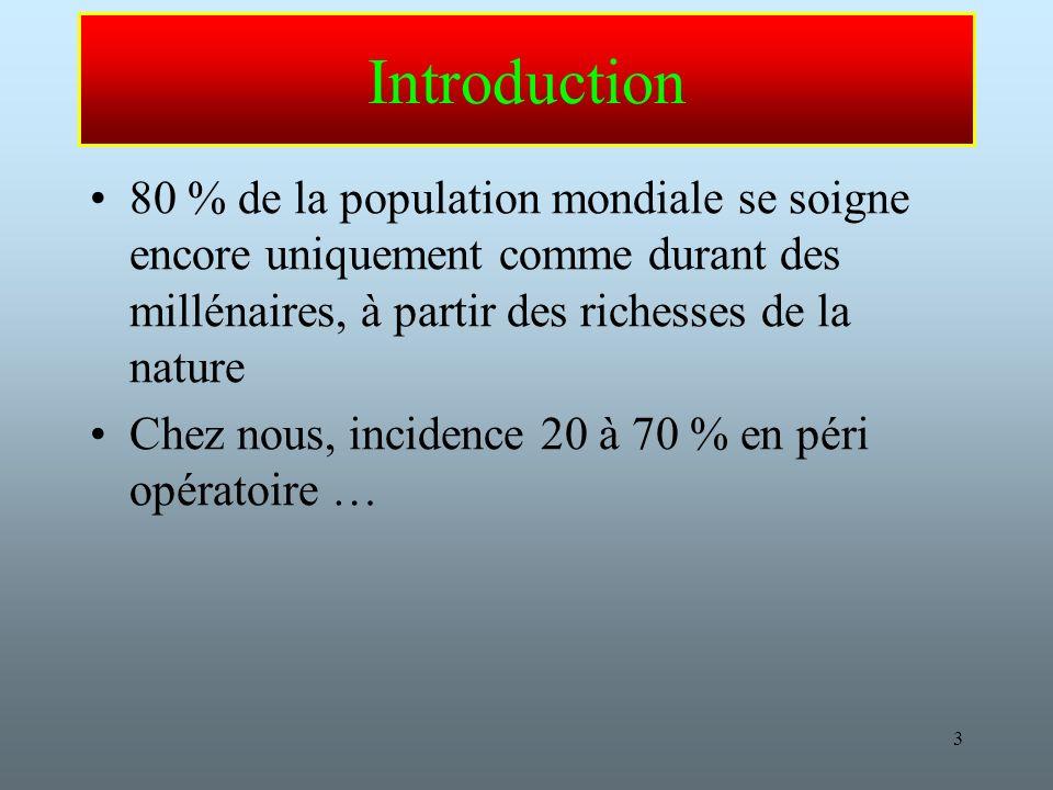 3 Introduction 80 % de la population mondiale se soigne encore uniquement comme durant des millénaires, à partir des richesses de la nature Chez nous, incidence 20 à 70 % en péri opératoire …