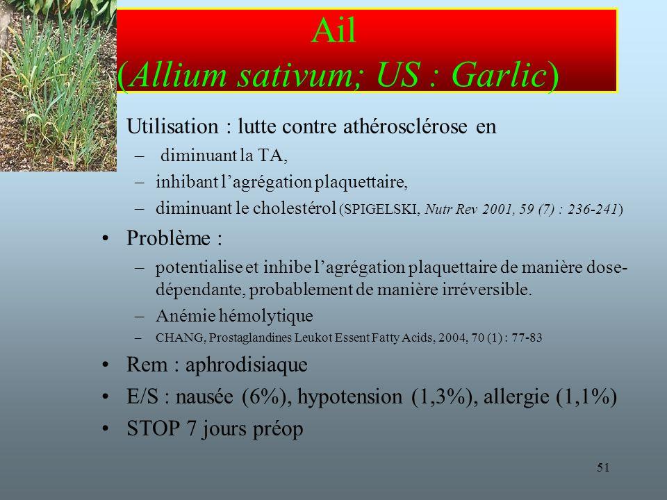51 Ail (Allium sativum; US : Garlic) Utilisation : lutte contre athérosclérose en – diminuant la TA, –inhibant lagrégation plaquettaire, –diminuant le cholestérol (SPIGELSKI, Nutr Rev 2001, 59 (7) : 236-241) Problème : –potentialise et inhibe lagrégation plaquettaire de manière dose- dépendante, probablement de manière irréversible.