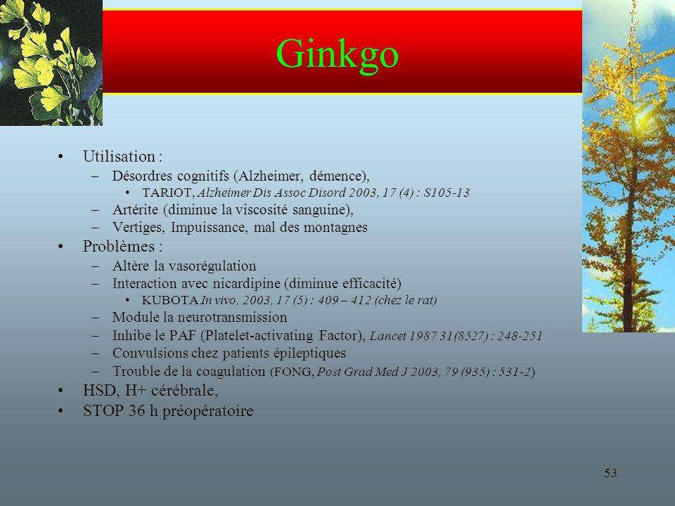 53 Ginkgo Utilisation : –Désordres cognitifs (Alzheimer, démence), TARIOT, Alzheimer Dis Assoc Disord 2003, 17 (4) : S105-13 –Artérite (diminue la viscosité sanguine), –Vertiges, Impuissance, mal des montagnes Problèmes : –Altère la vasorégulation –Interaction avec nicardipine (diminue efficacité) KUBOTA In vivo, 2003, 17 (5) : 409 – 412 (chez le rat) –Module la neurotransmission –Inhibe le PAF (Platelet-activating Factor), Lancet 1987 31(8527) : 248-251 –Convulsions chez patients épileptiques –Trouble de la coagulation (FONG, Post Grad Med J 2003, 79 (935) : 531-2) HSD, H+ cérébrale, STOP 36 h préopératoire
