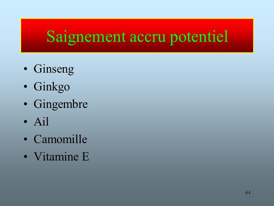 64 Saignement accru potentiel Ginseng Ginkgo Gingembre Ail Camomille Vitamine E