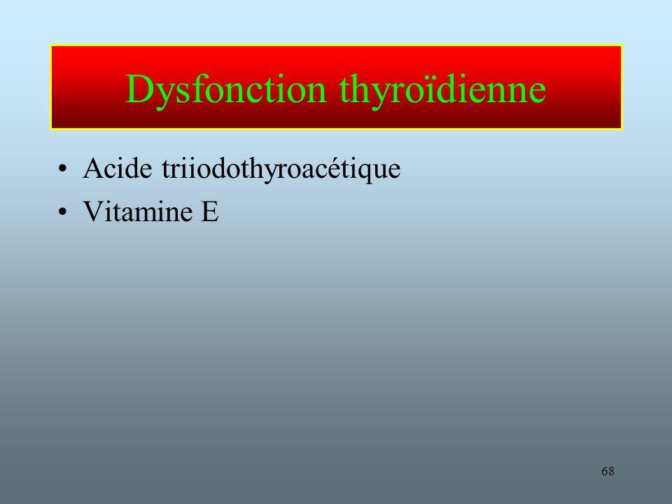 68 Dysfonction thyroïdienne Acide triiodothyroacétique Vitamine E