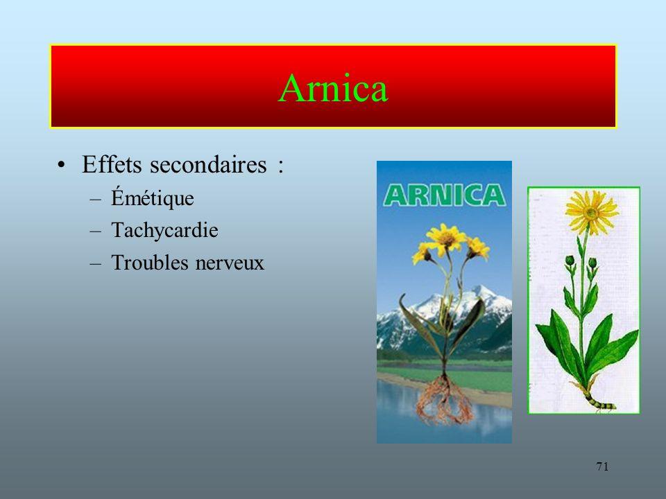 71 Arnica Effets secondaires : –Émétique –Tachycardie –Troubles nerveux