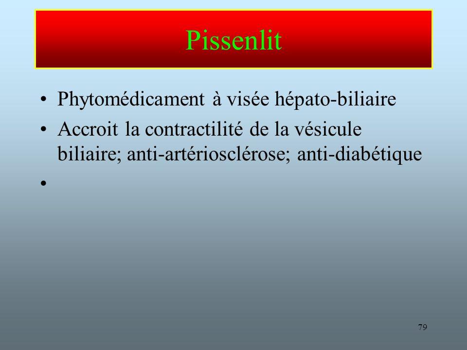 79 Pissenlit Phytomédicament à visée hépato-biliaire Accroit la contractilité de la vésicule biliaire; anti-artériosclérose; anti-diabétique