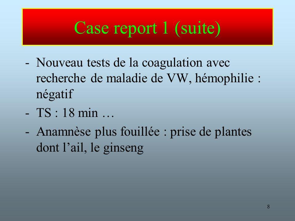 8 Case report 1 (suite) -Nouveau tests de la coagulation avec recherche de maladie de VW, hémophilie : négatif -TS : 18 min … -Anamnèse plus fouillée : prise de plantes dont lail, le ginseng