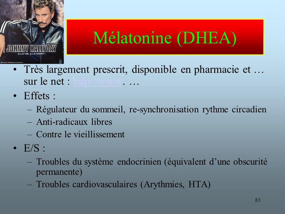 83 Mélatonine (DHEA) Très largement prescrit, disponible en pharmacie et … sur le net : http://www.