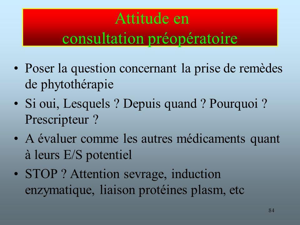 84 Attitude en consultation préopératoire Poser la question concernant la prise de remèdes de phytothérapie Si oui, Lesquels .