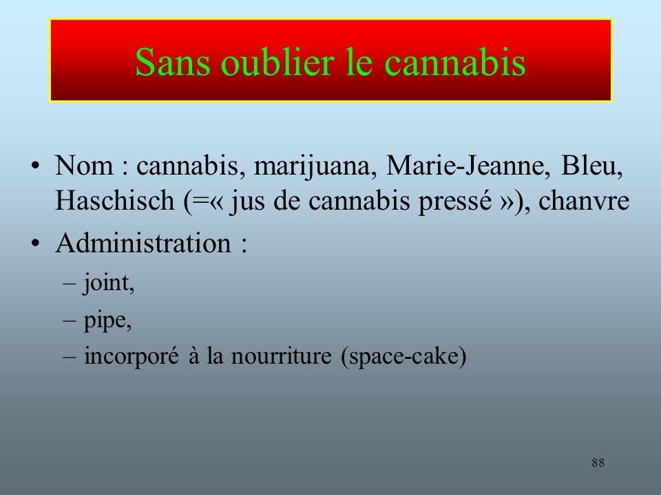 88 Sans oublier le cannabis Nom : cannabis, marijuana, Marie-Jeanne, Bleu, Haschisch (=« jus de cannabis pressé »), chanvre Administration : –joint, –pipe, –incorporé à la nourriture (space-cake)