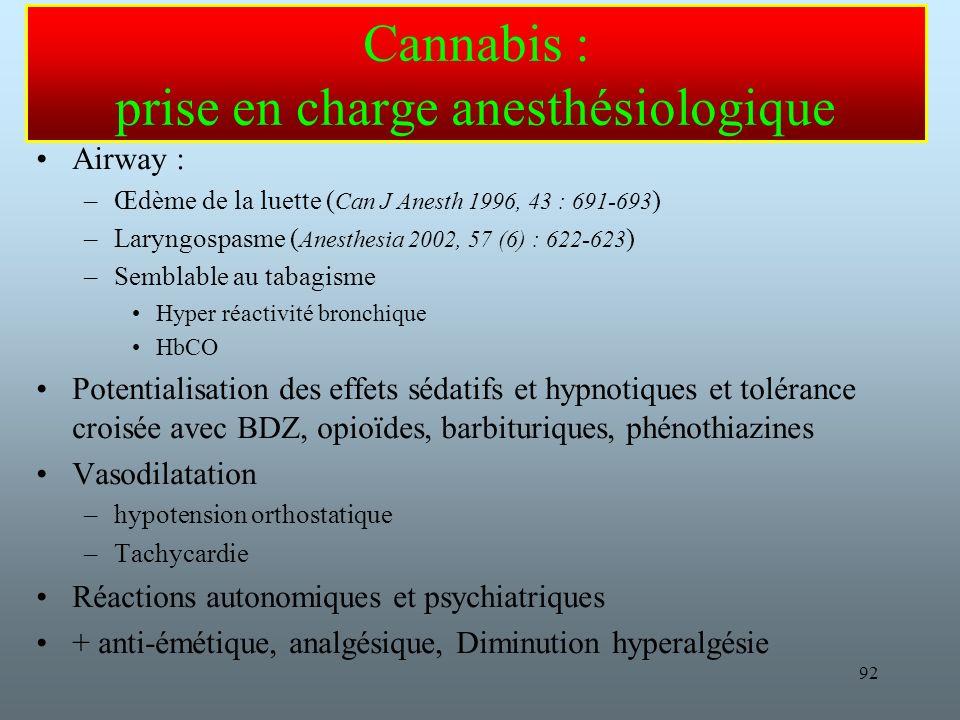 92 Cannabis : prise en charge anesthésiologique Airway : –Œdème de la luette ( Can J Anesth 1996, 43 : 691-693 ) –Laryngospasme ( Anesthesia 2002, 57 (6) : 622-623 ) –Semblable au tabagisme Hyper réactivité bronchique HbCO Potentialisation des effets sédatifs et hypnotiques et tolérance croisée avec BDZ, opioïdes, barbituriques, phénothiazines Vasodilatation –hypotension orthostatique –Tachycardie Réactions autonomiques et psychiatriques + anti-émétique, analgésique, Diminution hyperalgésie