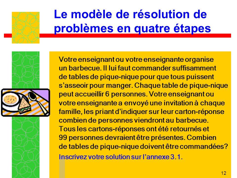 12 Le modèle de résolution de problèmes en quatre étapes Votre enseignant ou votre enseignante organise un barbecue.