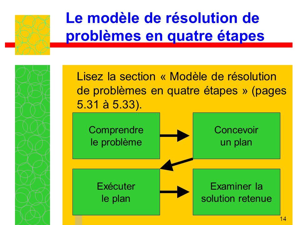 14 Le modèle de résolution de problèmes en quatre étapes Lisez la section « Modèle de résolution de problèmes en quatre étapes » (pages 5.31 à 5.33).