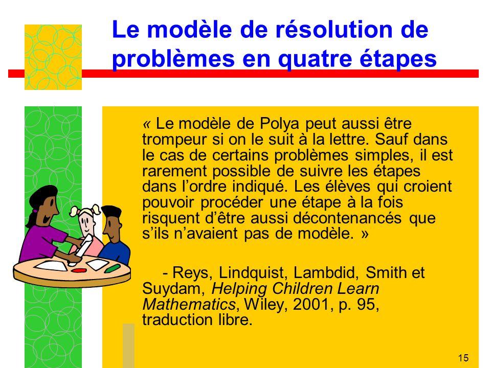 15 Le modèle de résolution de problèmes en quatre étapes « Le modèle de Polya peut aussi être trompeur si on le suit à la lettre.