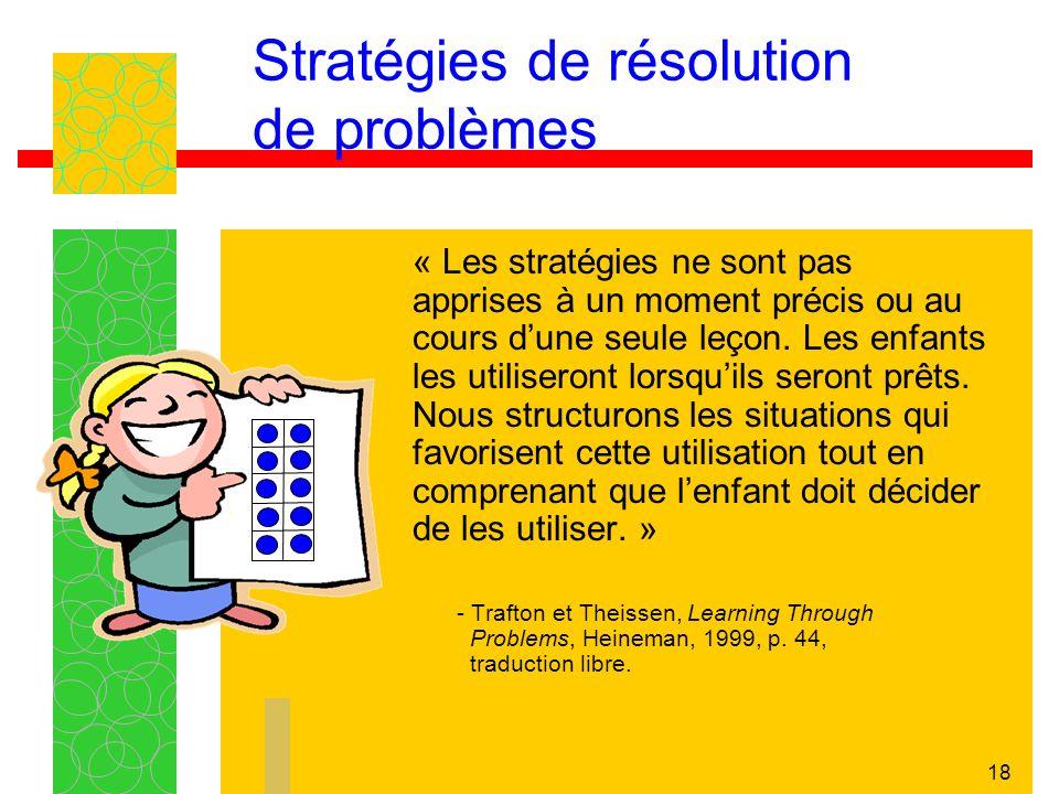 18 Stratégies de résolution de problèmes « Les stratégies ne sont pas apprises à un moment précis ou au cours dune seule leçon.