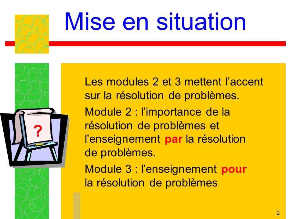 2 Mise en situation Les modules 2 et 3 mettent laccent sur la résolution de problèmes.