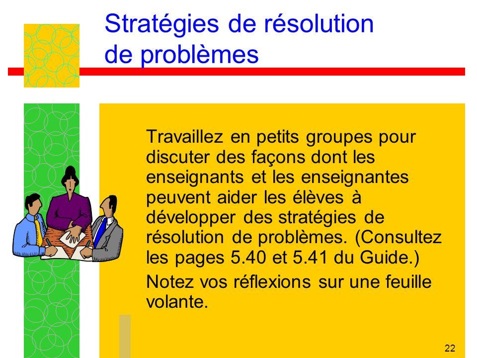 22 Stratégies de résolution de problèmes Travaillez en petits groupes pour discuter des façons dont les enseignants et les enseignantes peuvent aider les élèves à développer des stratégies de résolution de problèmes.