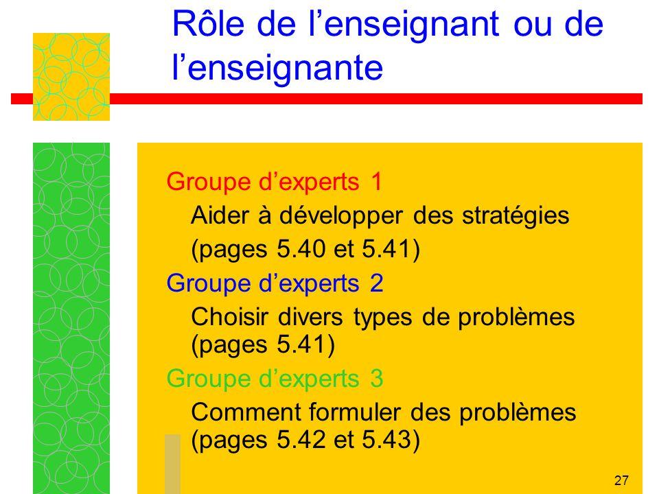 27 Groupe dexperts 1 Aider à développer des stratégies (pages 5.40 et 5.41) Groupe dexperts 2 Choisir divers types de problèmes (pages 5.41) Groupe dexperts 3 Comment formuler des problèmes (pages 5.42 et 5.43) Rôle de lenseignant ou de lenseignante