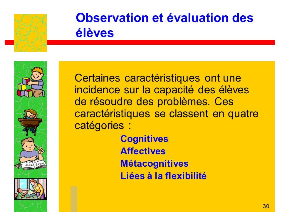 30 Observation et évaluation des élèves Certaines caractéristiques ont une incidence sur la capacité des élèves de résoudre des problèmes.