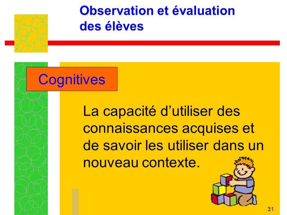 31 Observation et évaluation des élèves La capacité dutiliser des connaissances acquises et de savoir les utiliser dans un nouveau contexte.