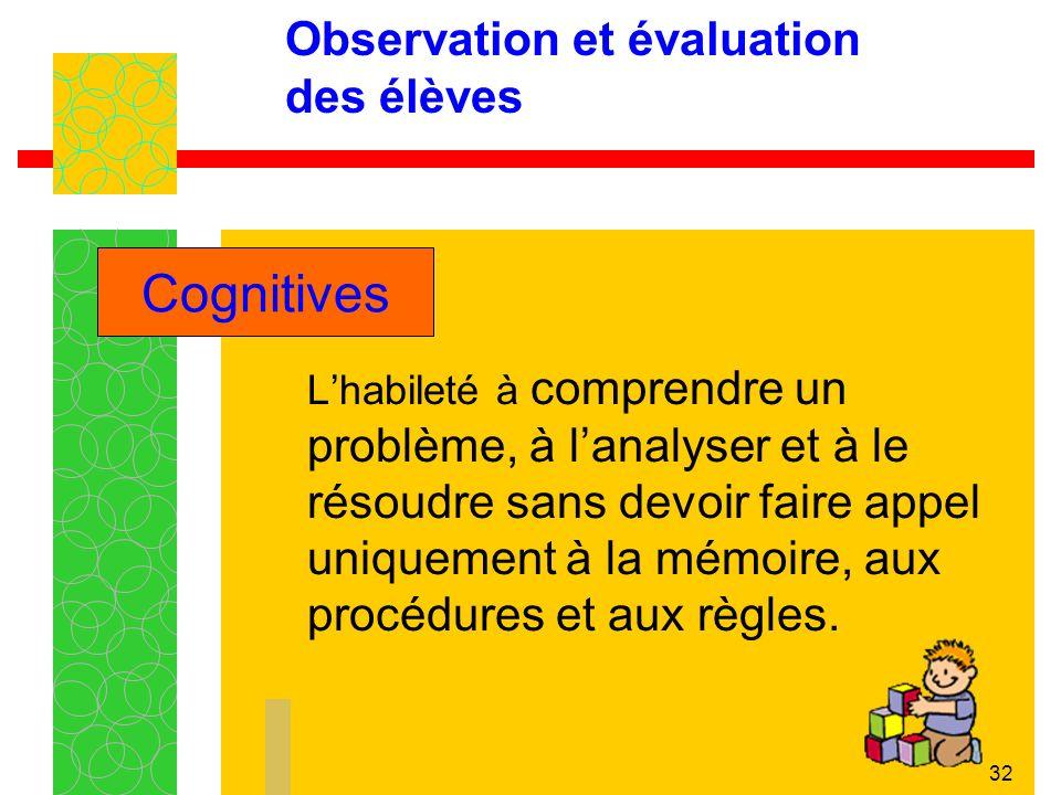 32 Observation et évaluation des élèves Lhabileté à comprendre un problème, à lanalyser et à le résoudre sans devoir faire appel uniquement à la mémoire, aux procédures et aux règles.