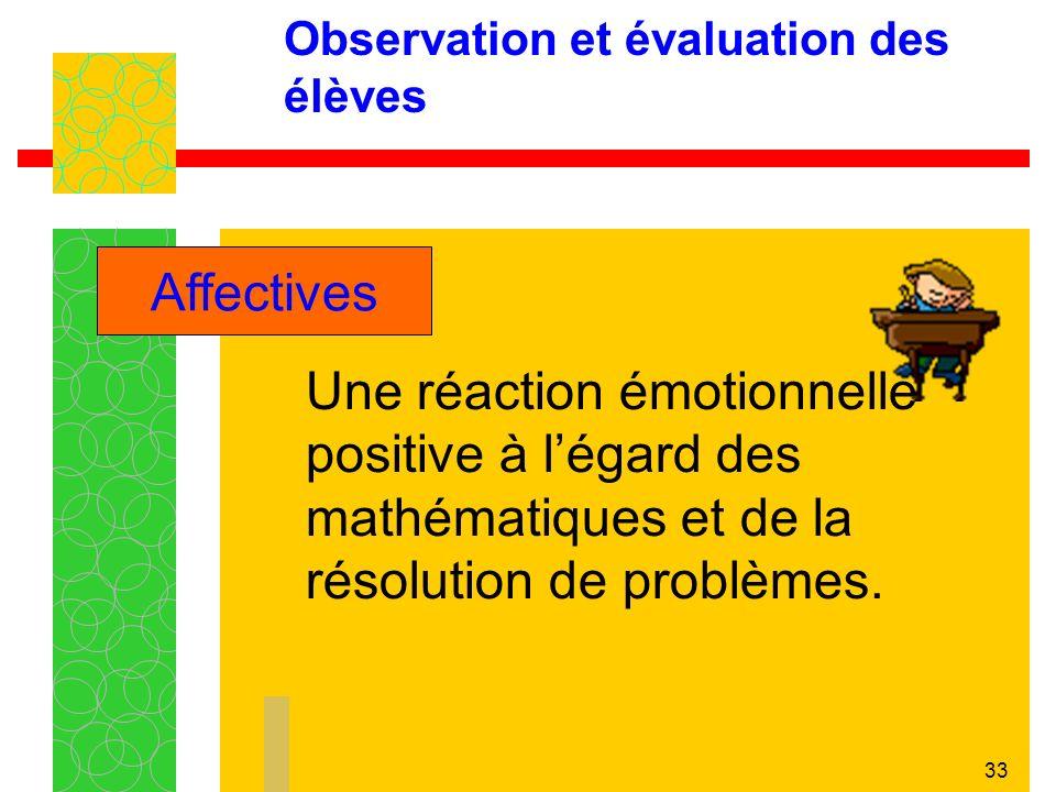 33 Observation et évaluation des élèves Une réaction émotionnelle positive à légard des mathématiques et de la résolution de problèmes.
