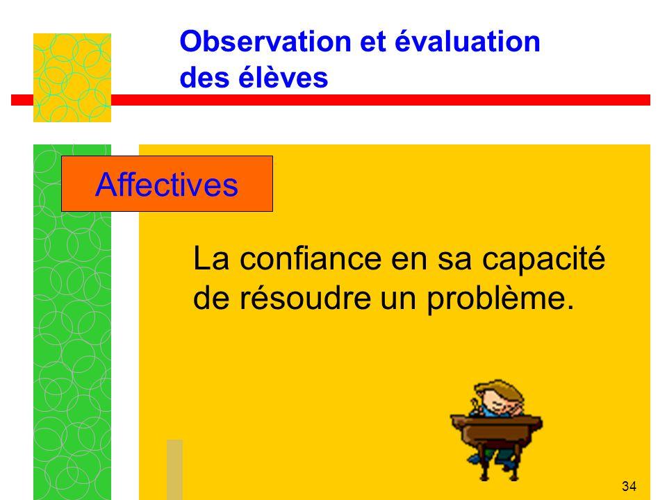 34 Observation et évaluation des élèves La confiance en sa capacité de résoudre un problème.
