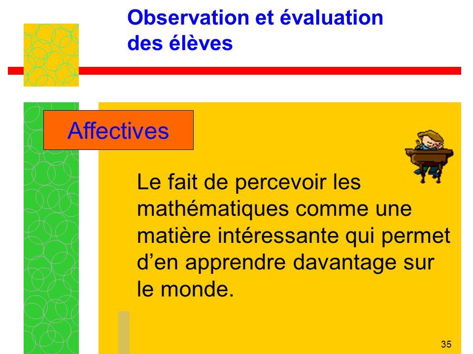 35 Observation et évaluation des élèves Le fait de percevoir les mathématiques comme une matière intéressante qui permet den apprendre davantage sur le monde.
