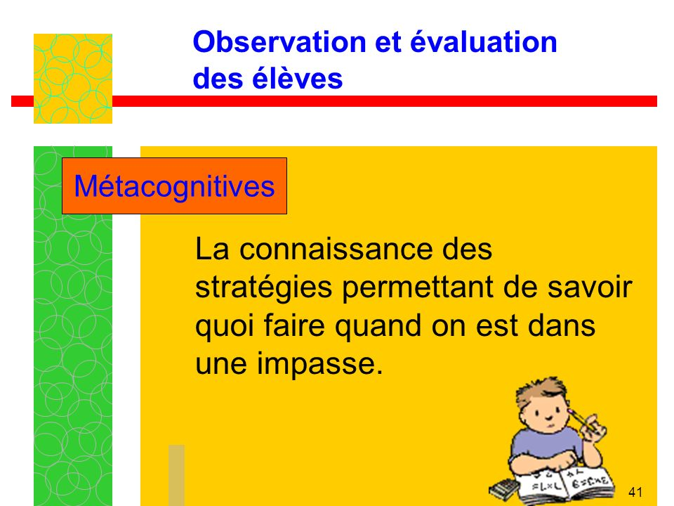 41 Observation et évaluation des élèves La connaissance des stratégies permettant de savoir quoi faire quand on est dans une impasse.
