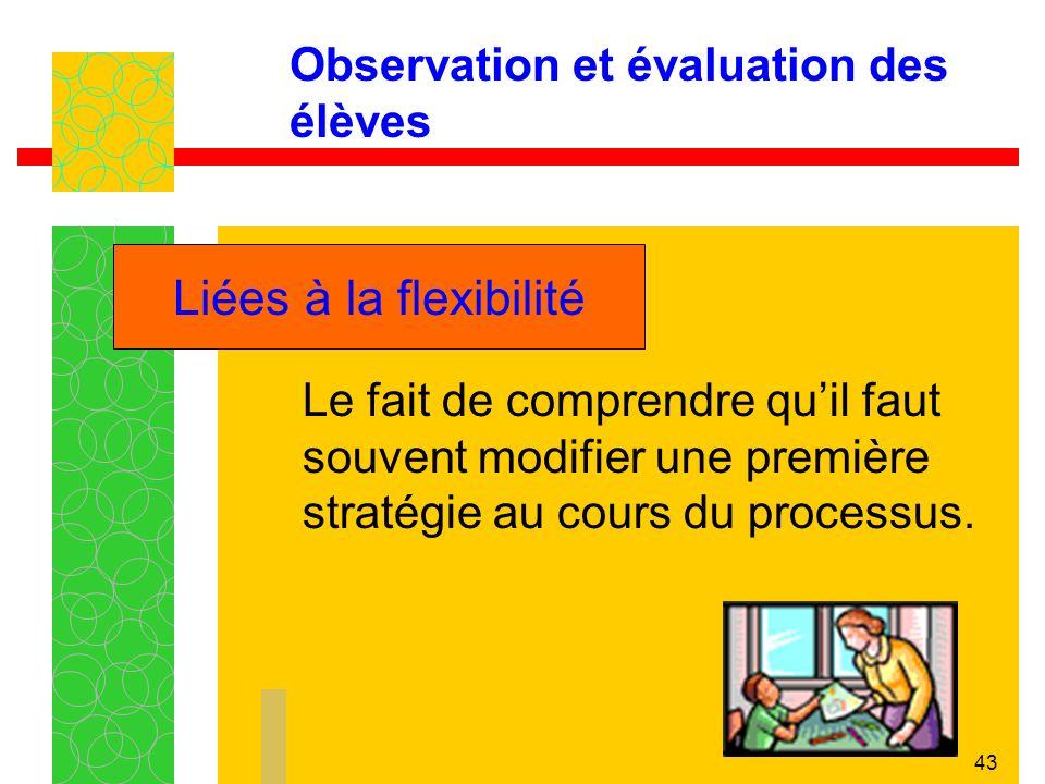43 Observation et évaluation des élèves Le fait de comprendre quil faut souvent modifier une première stratégie au cours du processus.