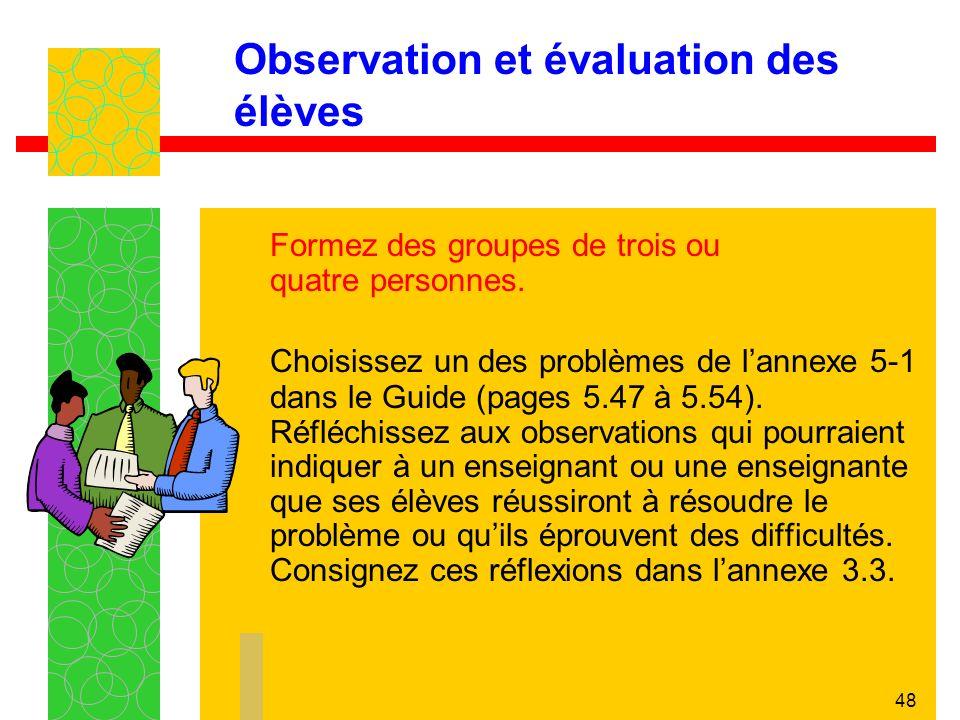 48 Observation et évaluation des élèves Formez des groupes de trois ou quatre personnes.