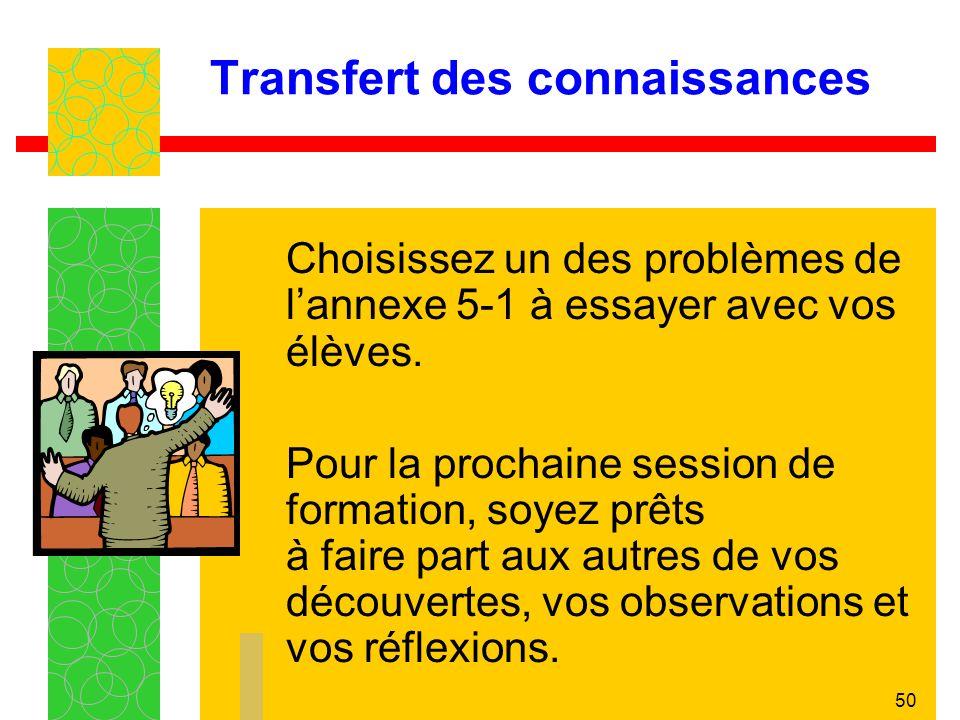 50 Transfert des connaissances Choisissez un des problèmes de lannexe 5-1 à essayer avec vos élèves.