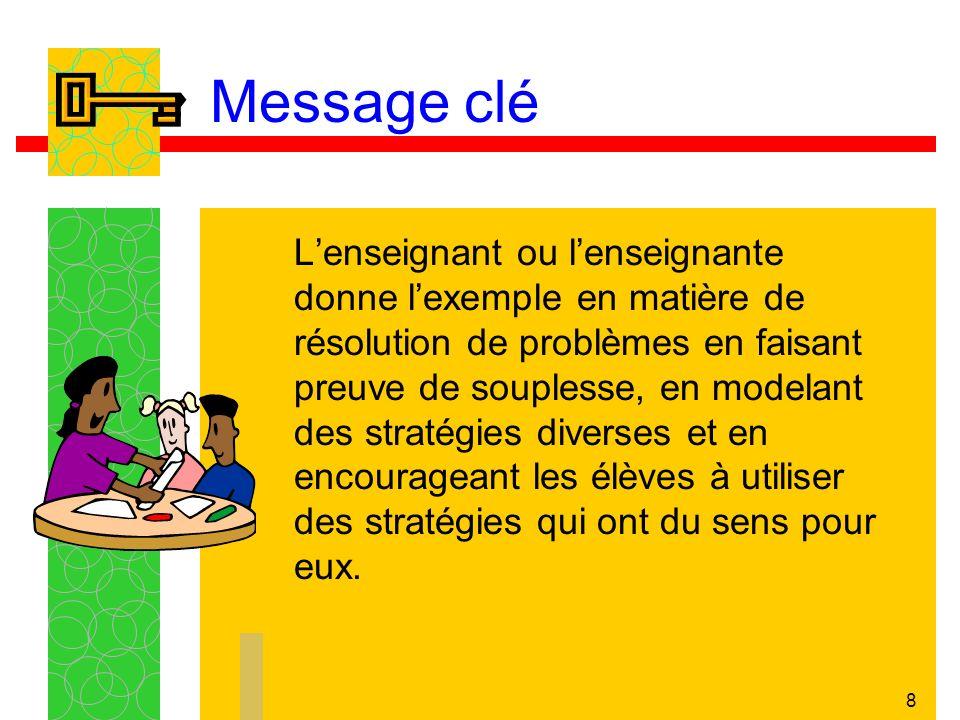 8 Message clé Lenseignant ou lenseignante donne lexemple en matière de résolution de problèmes en faisant preuve de souplesse, en modelant des stratégies diverses et en encourageant les élèves à utiliser des stratégies qui ont du sens pour eux.