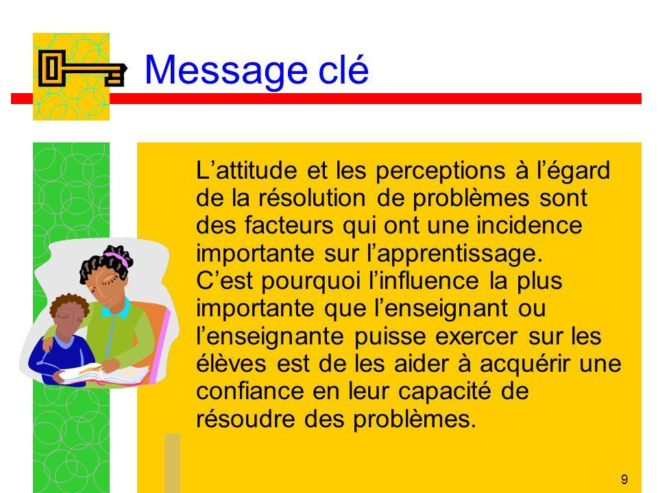 9 Message clé Lattitude et les perceptions à légard de la résolution de problèmes sont des facteurs qui ont une incidence importante sur lapprentissage.