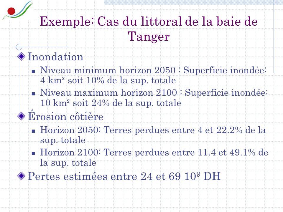 Exemple: Cas du littoral de la baie de Tanger Inondation Niveau minimum horizon 2050 : Superficie inondée: 4 km² soit 10% de la sup.