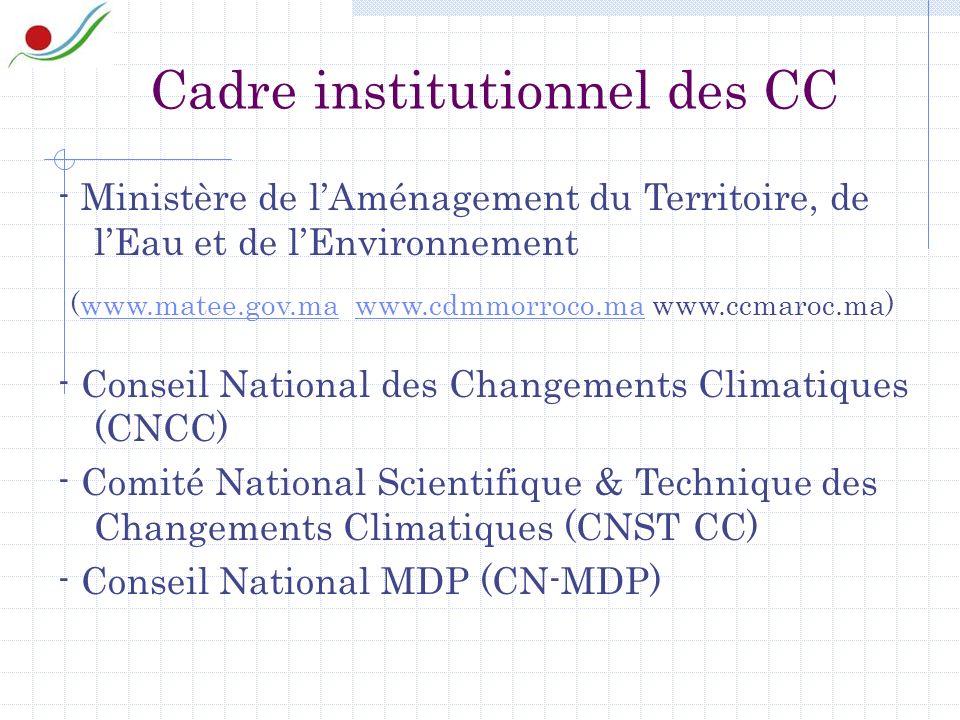 - Ministère de lAménagement du Territoire, de lEau et de lEnvironnement (www.matee.gov.ma www.cdmmorroco.ma www.ccmaroc.ma)www.matee.gov.mawww.cdmmorroco.ma - Conseil National des Changements Climatiques (CNCC) - Comité National Scientifique & Technique des Changements Climatiques (CNST CC) - Conseil National MDP (CN-MDP) Cadre institutionnel des CC