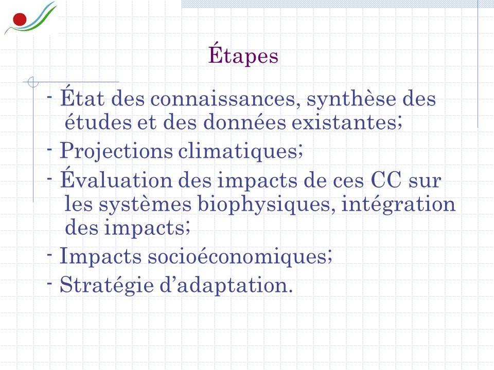 Étapes - État des connaissances, synthèse des études et des données existantes; - Projections climatiques; - Évaluation des impacts de ces CC sur les systèmes biophysiques, intégration des impacts; - Impacts socioéconomiques; - Stratégie dadaptation.