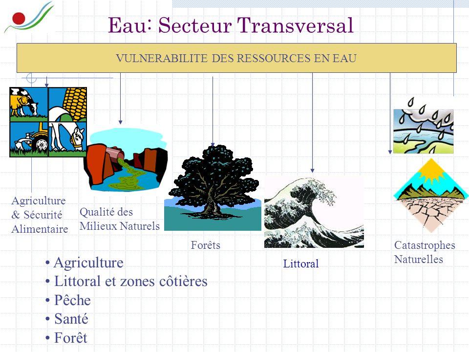 Eau: Secteur Transversal VULNERABILITE DES RESSOURCES EN EAU Agriculture & Sécurité Alimentaire Qualité des Milieux Naturels Forêts Littoral Catastrophes Naturelles Agriculture Littoral et zones côtières Pêche Santé Forêt