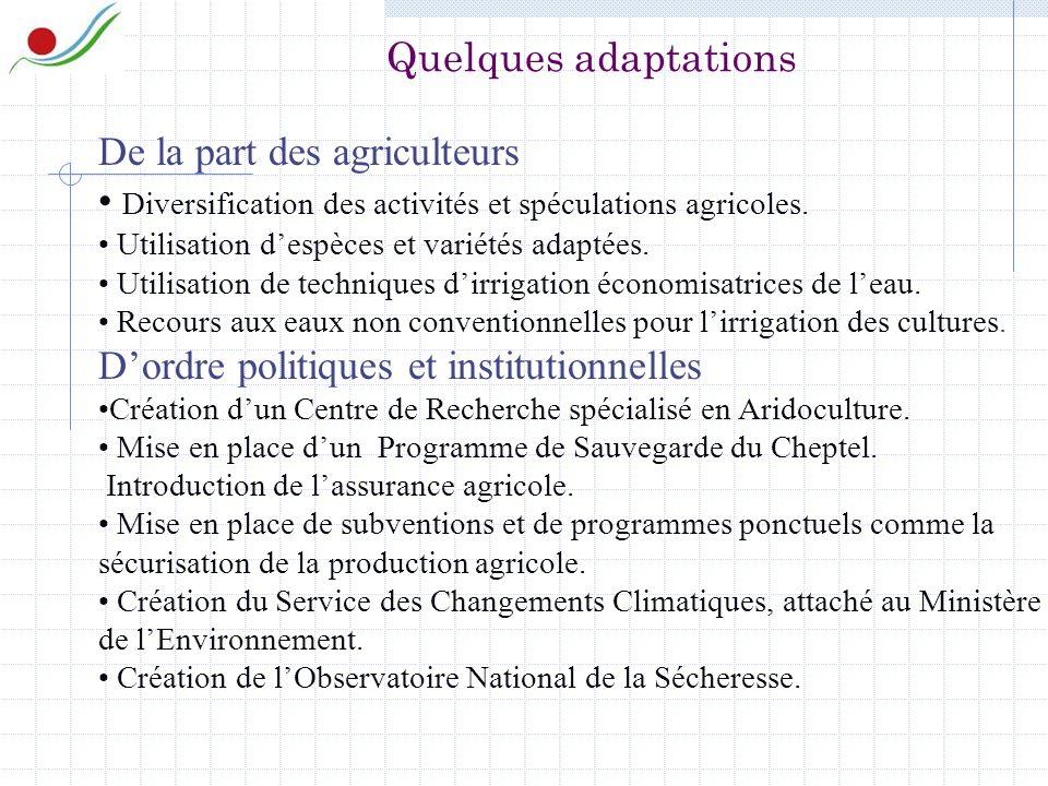 De la part des agriculteurs Diversification des activités et spéculations agricoles.