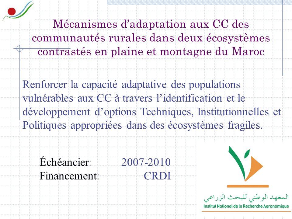 Mécanismes dadaptation aux CC des communautés rurales dans deux écosystèmes contrastés en plaine et montagne du Maroc Renforcer la capacité adaptative des populations vulnérables aux CC à travers lidentification et le développement doptions Techniques, Institutionnelles et Politiques appropriées dans des écosystèmes fragiles.