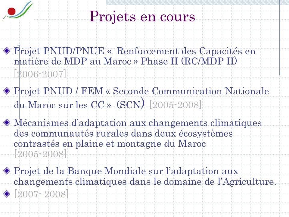 Projets en cours Projet PNUD/PNUE « Renforcement des Capacités en matière de MDP au Maroc » Phase II (RC/MDP II) [2006-2007] Projet PNUD / FEM « Seconde Communication Nationale du Maroc sur les CC » (SCN ) [2005-2008] Mécanismes dadaptation aux changements climatiques des communautés rurales dans deux écosystèmes contrastés en plaine et montagne du Maroc [2005-2008] Projet de la Banque Mondiale sur ladaptation aux changements climatiques dans le domaine de lAgriculture.
